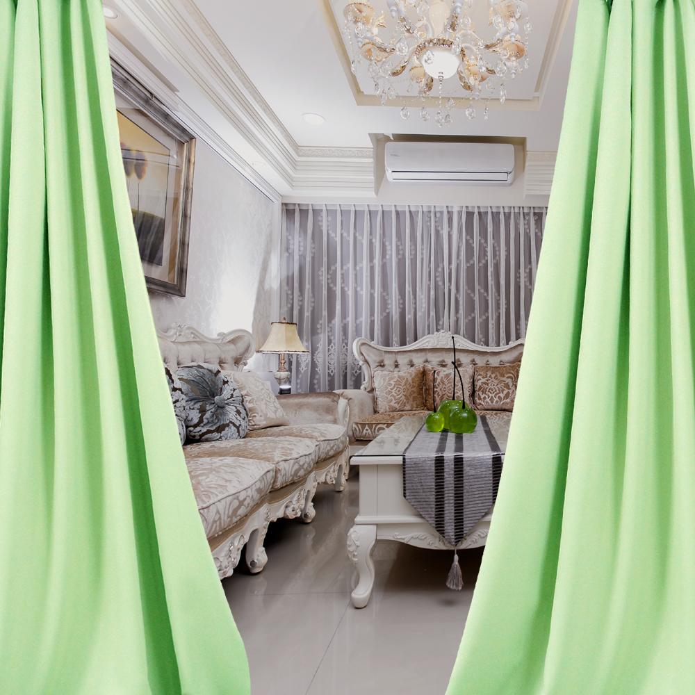 布安於室-簡約素面綠穿管式單層遮光窗簾-落地窗(寬270X高240cm)