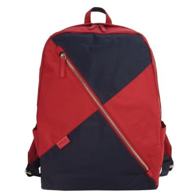 agnes b.voyage極簡斜拉鏈尼龍後背包(紅X藍)