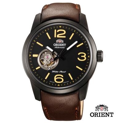 ORIENT 東方錶SEMI-SKELETON 小鏤空機械錶-黑x咖啡色/42.5mm