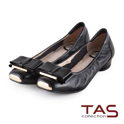 TAS-太妃Q系列-柔軟乳膠金屬方頭蝴蝶結娃娃鞋