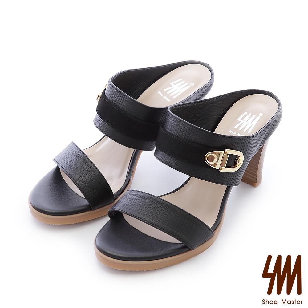 SM-台灣全真皮-極簡一字形性感中高粗跟拖鞋-黑色