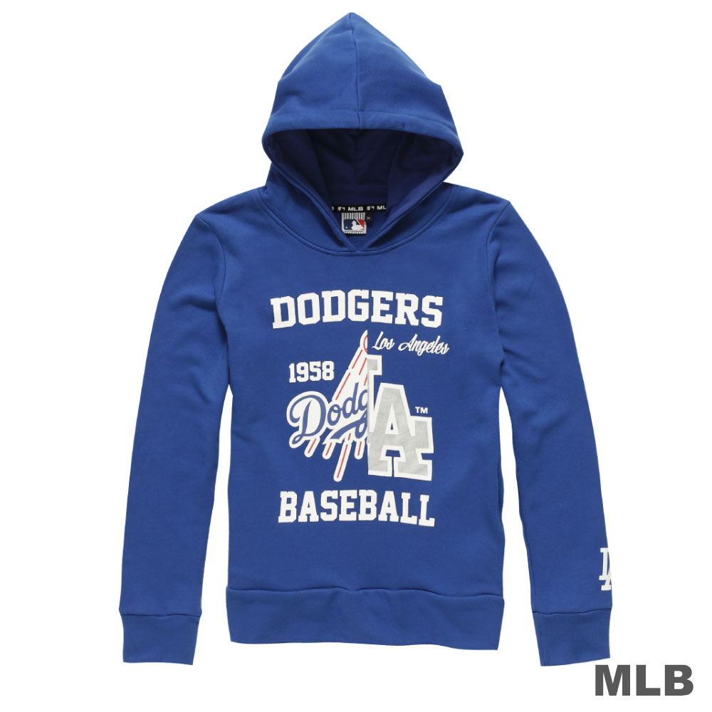 MLB-洛杉磯道奇隊分割LOGO印花連帽長袖厚T恤-藍 (女)