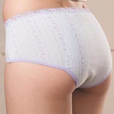 華歌爾 清新印花M-LL日間低腰三角生理褲(療癒灰)
