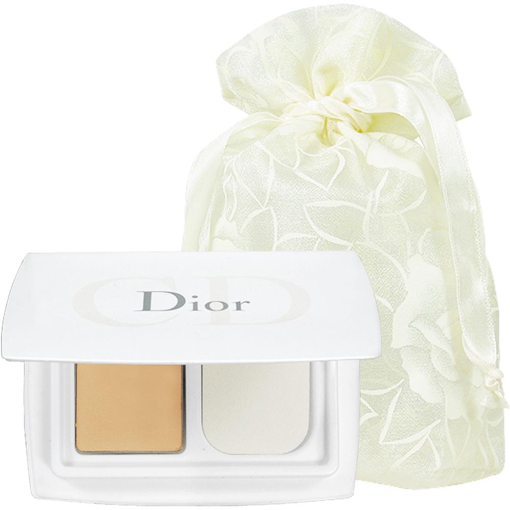 Dior 迪奧 雪晶靈冰透白粉餅精巧版SPF30/PA+++(3g)(#020)旅行袋組