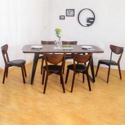 Bernice-諾曼工業風實木餐桌椅組(一桌六椅)-180x90x75cm