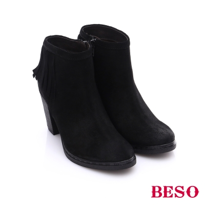 BESO 都會摩登女郎 絨面牛皮流蘇高跟短靴 黑色