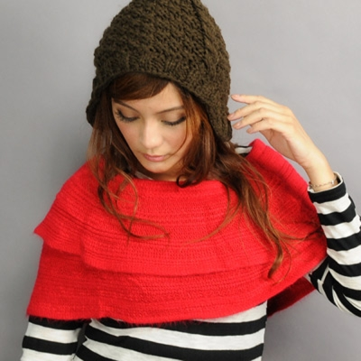 Aimee Toff 造型用反摺變化輕盈圍脖(紅)