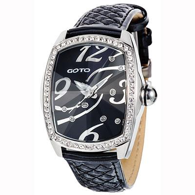 GOTO amber star愛鑽潮流時尚腕錶-黑/34mm