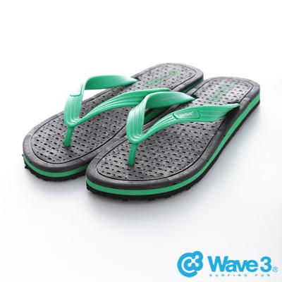 WAVE3【男】台灣製 排水透氣人字夾腳拖鞋~黑綠