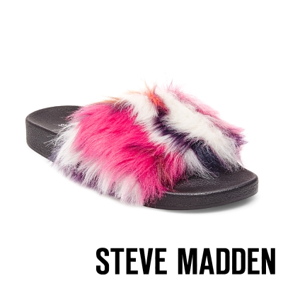 STEVE MADDEN-SOFTEY-MULTI 毛絨一字拖-桃色