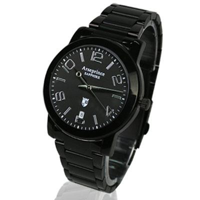 【Arseprince】藍圈指針時尚中性錶-黑色