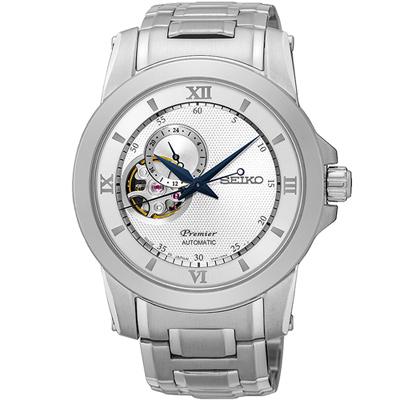 SEIKO Premier 尊品鏤空開芯機械腕錶-銀色/41mm