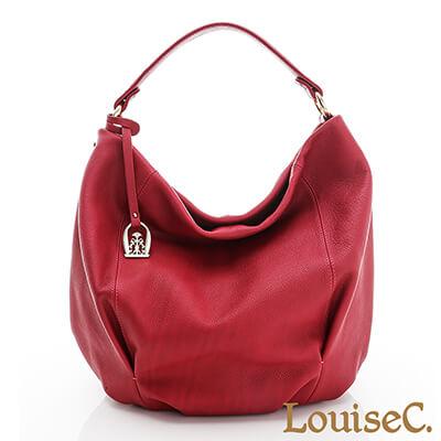 LouiseC.優雅自信牛皮圓桶肩背包-桃紅色-02C01-0018A14