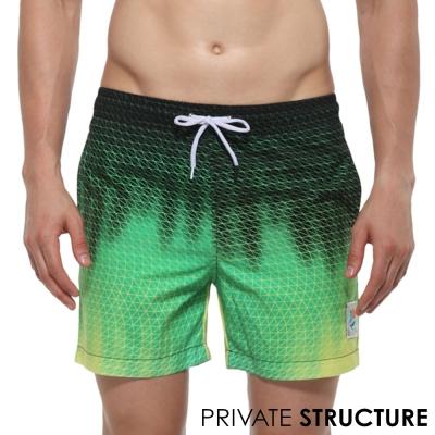P.S 科技感綠色網格漸層海灘褲,Private Structure