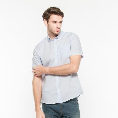 Hang Ten - 男裝 - 防皺都會格紋襯衫 - 藍