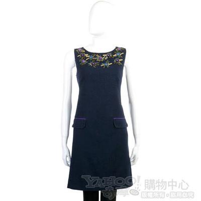 MOSCHINO 深藍色亮片花飾無袖洋裝