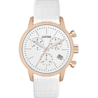 LOVME 城市獵人個性時尚手錶-IP玫x白/43mm