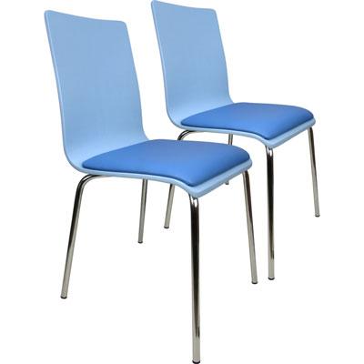 Design 童彩曲木皮墊餐椅/事務椅2入組(兩色)