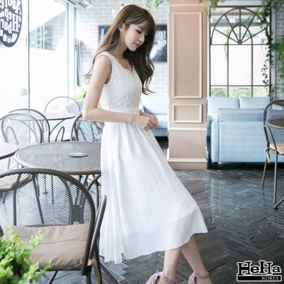 洋裝 V領雪紡蕾絲繡花側拉鍊連身裙 白色-HeHa