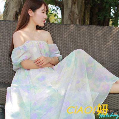 平口飛袖清新雪紡長洋裝-共二色-CiAO妞-hol