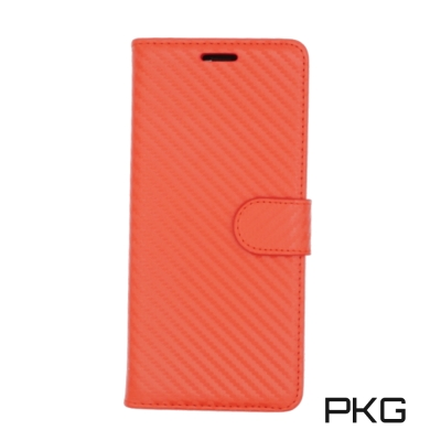 PKG SAMSUNG Note8 時尚紋路側翻皮套-類碳纖維紋-紅