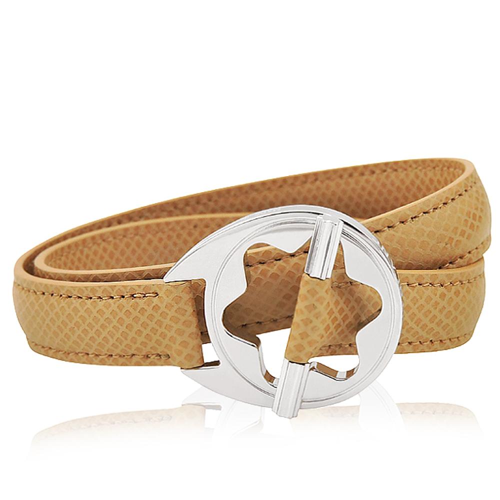 MONT BLANC 萬寶龍 六角星純銀雙環釦手環(駝色)