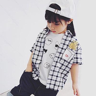 Baby unicorn 黑白格紋薯條短袖襯衫