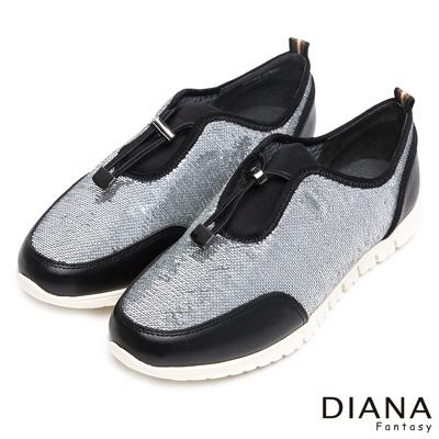 DIANA-輕-愛的-光澤感抽繩鬆緊帶拼接輕量休閒鞋-銀