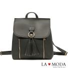 La Moda 旅行出國通勤首選,大容量3way流蘇手提肩背後背包(黑)