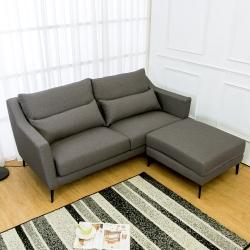 Bernice-蒂羅L型灰色防潑水亞麻布沙發(三人座+腳椅)(送腰枕)