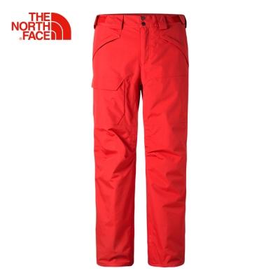 The North Face北面男款紅色保暖防水透氣滑雪棉質長褲