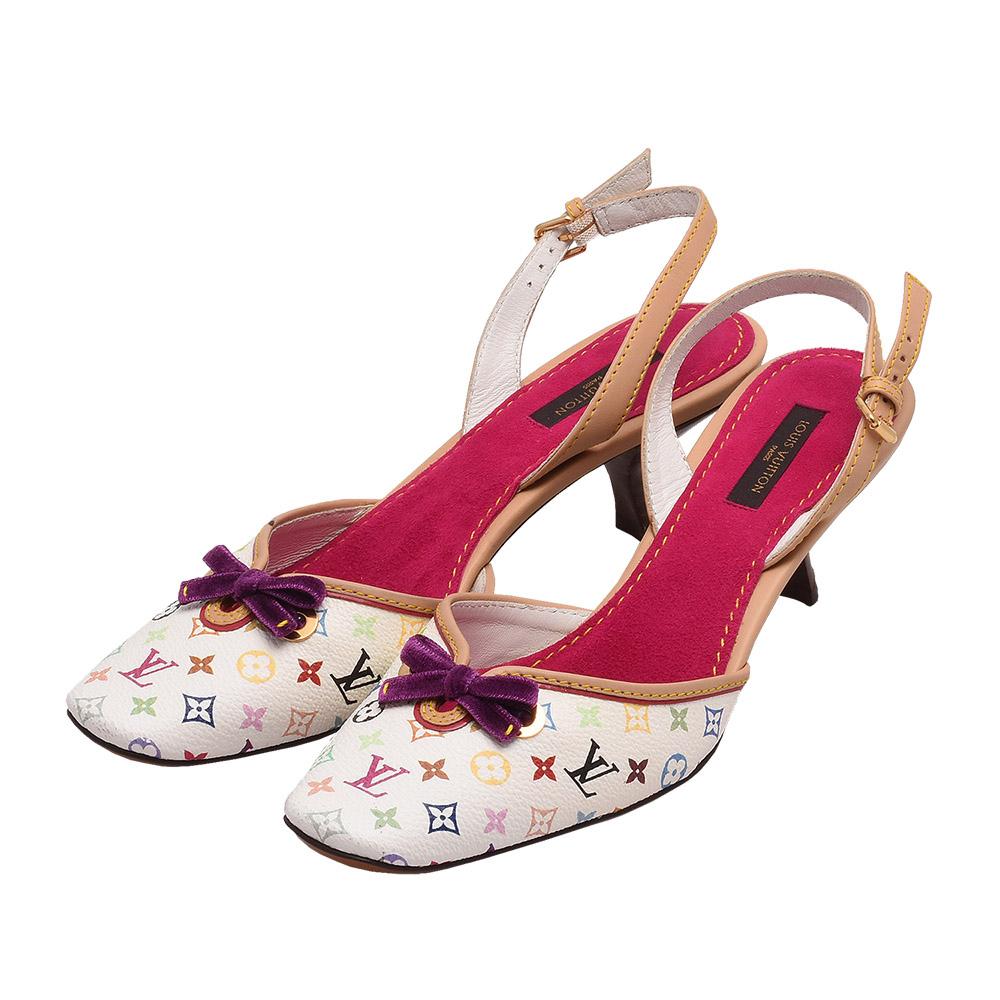 LV R00055村上隆Multicolore蝴蝶結低跟涼鞋白彩-37號-展示品