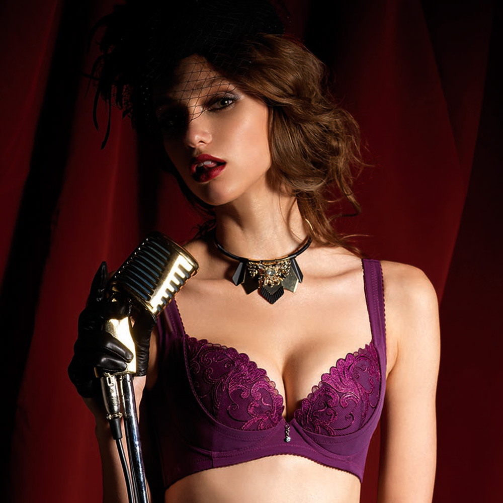 LADY 燦亮星影系列 E-F罩 機能調整型內衣(神秘紫)