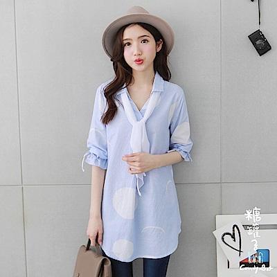 糖罐子-領巾圓點直條紋棉麻衫(藍)