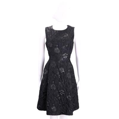 Max Mara-SHINE 黑色浮雕花朵無袖洋裝