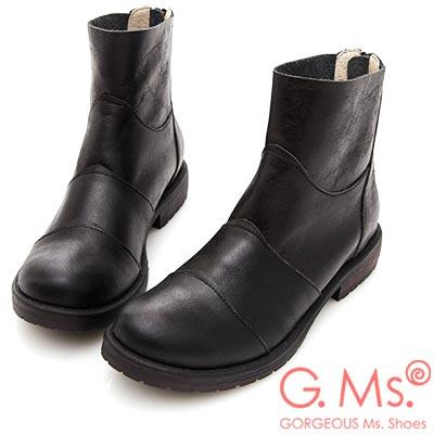 G.Ms. MIT系列-牛皮拼接造型後拉鍊短靴-黑色