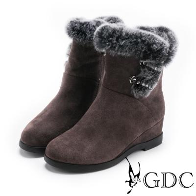 GDC-高雅時尚歐美感毛毛中靴-深灰色