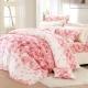 情雅花尊-精梳棉-雙人四件式兩用被床包組