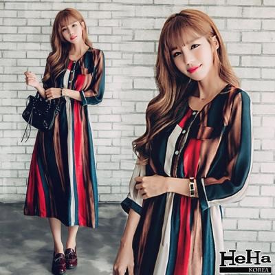 洋裝-彩色條紋連身長裙-HeHa