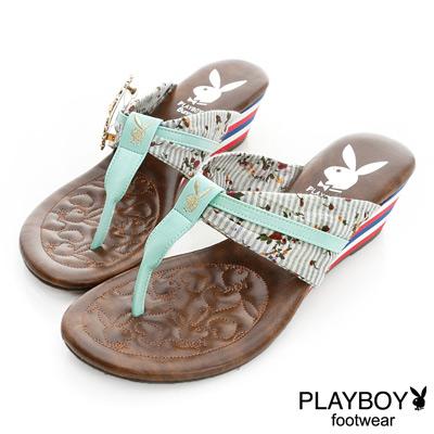 PLAYBOY-清新假期-碎花T字帶楔型夾腳拖鞋-藍綠-女