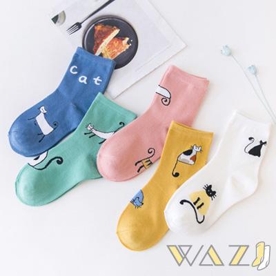 Wazi-可愛插畫風貓咪短襪 (1組五入)