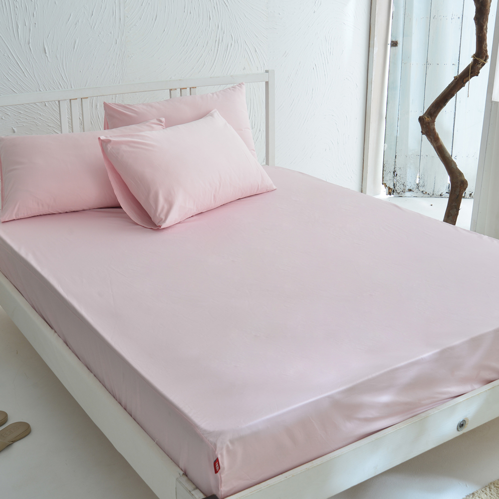DON 原色時尚 雙人200織精梳純棉床包枕套三件組-輕甜粉