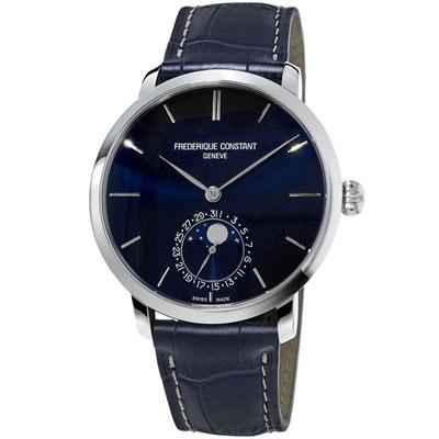 康斯登 CONSTANT 自製機芯超薄月相腕錶-海軍藍/42mm