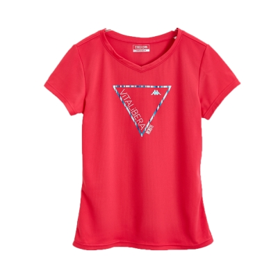 KAPPA義大利女吸濕排汗速乾KOOL DRY彩色短袖衫 海棠紅