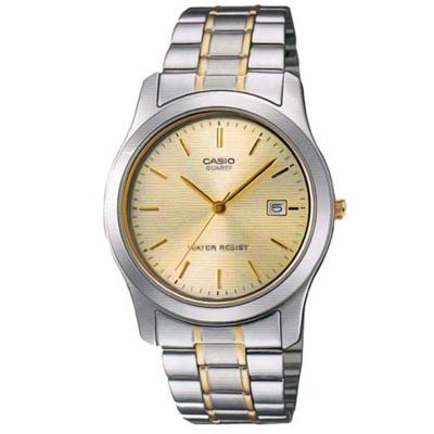 CASIO 富豪金銀時尚指針紳士腕錶(MTP-1141G-9A)-金邊X黃面/38mm