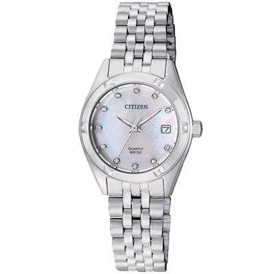 CITIZEN星辰 施華洛世奇刻度海神女仕手錶(EU6050-59)-珍珠母貝/26mm