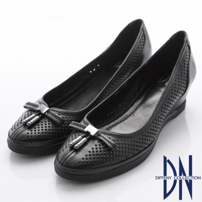 DN-都會優雅-柔軟羊皮蝴蝶結簍空楔型跟鞋-黑