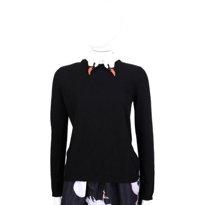 RED VALENTINO 黑色天鵝領設計長袖上衣(領可拆)
