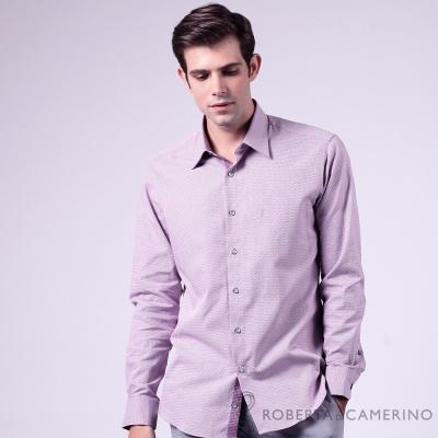 ROBERTA諾貝達 進口素材 台灣製 合身版 純棉長袖襯衫 紫色