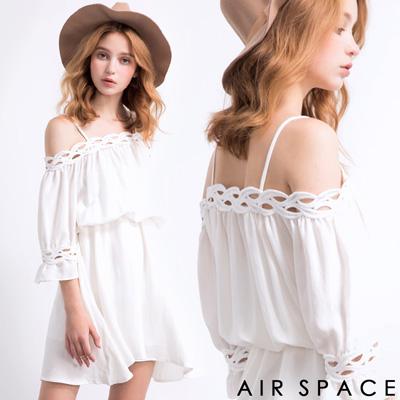 AIR-SPACE-氣質編織滾邊連身洋裝-白